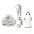 3-in-1 Car Charger + UK Power Charging Adapter + USB Cable for iPhone 5 / iPad 4 / iPad Mini - White