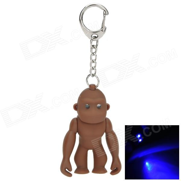 Gorilla Shaped 2-LED Blue Light Keychain - Coffee (3 x AG10)