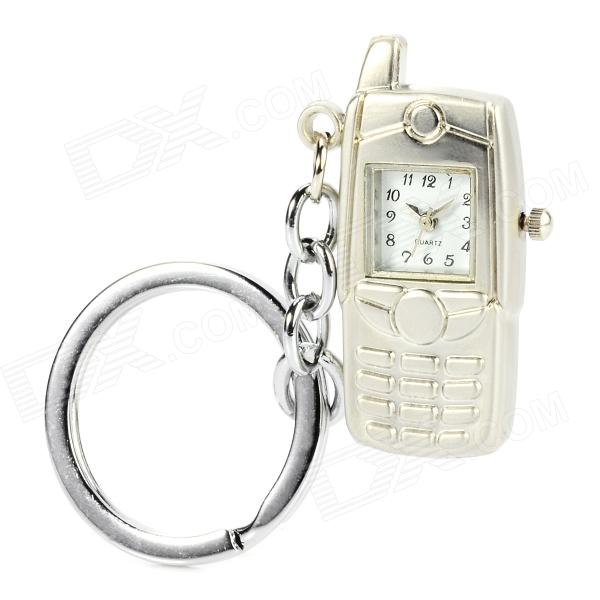 Bar Phone Style Quartz Watch w/ Keychain - Silver (1 x LR41)