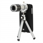 4-in-1 12X Telephoto + Fisheye + Wide Angle + Macro Lens + Tripod Set for Samsung S4 / i9508 - Black