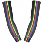 NUCKILY ZM048 Outdoor Sports Strip Pattern Anti-Sunburn Cycling Arm Sleeves - Black (Size L / Pair)