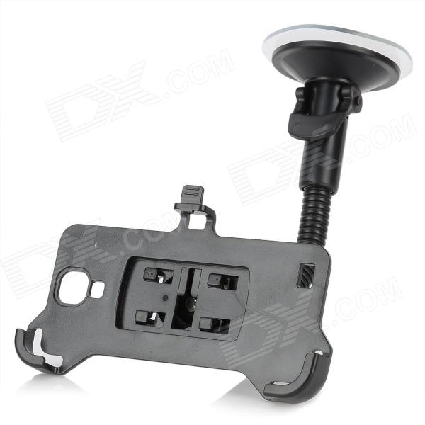 Suction Cup Car Mounted Plastic Holder + Bracket + Car Charger Set for Samsung Galaxy S4 - Black