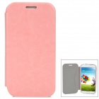 Protective Flip-Open Style PU Leather Case for Samsung i9500 w/ Card Slot - Pink