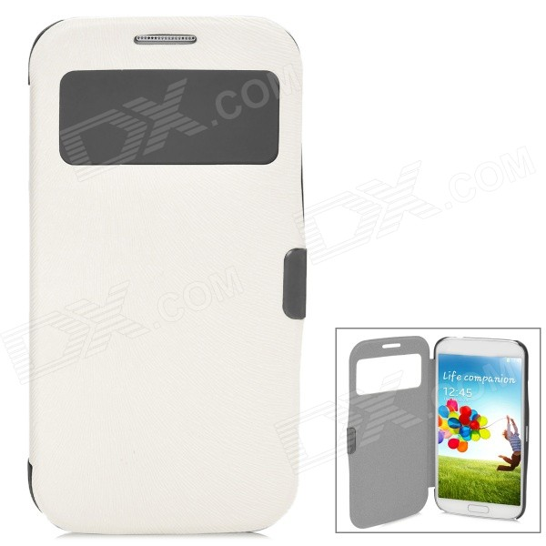 Protective Flip-Open Style PU Leather Case for Samsung Galaxy S4 i9500 - White cm001 3d skeleton pattern protective plastic back case for samsung galaxy s4