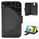 Protective Crocodiles Pattern Flip-Open PU Leather Case for Samsung Galaxy S4 i9500 - Black