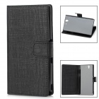 Stylish Grid Pattern Flip-open Protective PU Leather Case w/ Holder for Sony L36h - Black