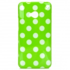 Protective Polka Dots Back Case for HTC One m7 - Green + White