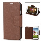 SUYOU Classic Flip-open Protective PU Leather Case w/ Holder for Samsung Galaxy S4 i9500 - Brown