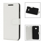 Stylish Grid Pattern Flip-open Protective PU Leather Case w/ Holder for HTC ONE M7 - White