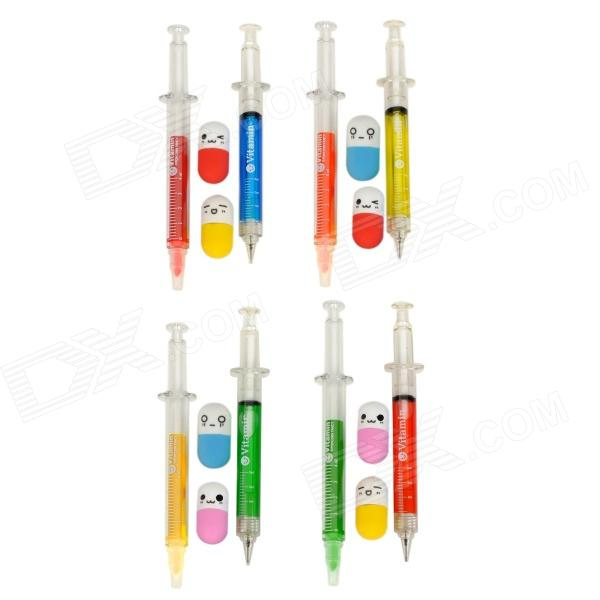 Needle tubing Style Color Pens + Pencils + Capsule Style Erasers Set - Multicolored (4 PCS)