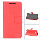 Stylish Protective PU Leather + Plastic Case for HTC One M7 - Red + Black