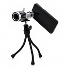 12X Zoom Telephoto Lens w/ TrIpod Mount + Back Case Set for Iphone 4 / 4S / 5 - Silver + Black