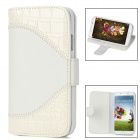 Stylish Crocodile Skin Pattern Flip-open PU Leather Case w/ Holder for Samsung Galaxy S4 - White
