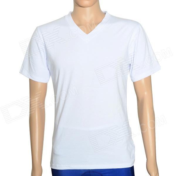 Lycra Cotton V-collar Short Sleeve T-shirt for Men - White (XXL)