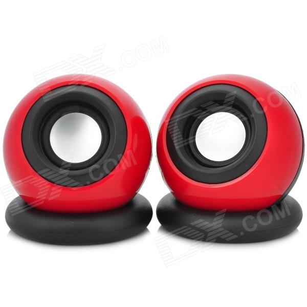 AW-214 USB Multimedia 3W x 2 Subwoofer Speakers for Laptop / Computer - Red + Black (Pair)