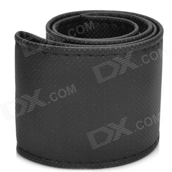 DIY Cow Split Leather Car Steering Wheel Sleeve - Black (37~38cm)