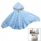 Baby's Cute Floral Pattern Two Way Pur Cotton Spring / Fall Cloak w/ Hood - Gray + Blue