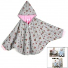 Baby's Cute Floral Pattern Two Way Pur Cotton Spring / Fall Cloak w/ Hood - Pink + Gray
