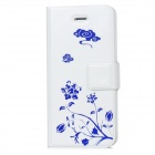 Flower Pattern Protective PU Leather Case Stand for iPhone 5 - White + Blue