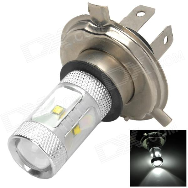 HJ0502 H4 6W 600lm 6500K White Light Car Farol w / 6-CREE XBD R3 - prata (10 ~ 30V)