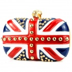 Rhinestone Skull The Union Jack Design Zinc Alloy + Patent Leather Shoulder Bag - White + Red + Blue