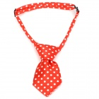 Polka Dot Pattern Adjustable Pet Dog Cat Handsome Decorative Necktie - Red + White (Size M)