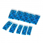 Zebra Pattern Style Nail Art Decorative Plastic Artificial Nail Tips - Blue + Black (100 PCS)