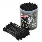 Black Bamboo Charcoal Fiber Dual Tips Ear Cleaning Cotton Swab - Black (2 x 100 PCS)