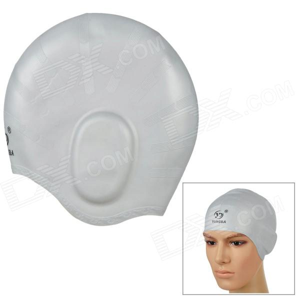 YONGBA Comfortable Ear Protection Soft Silicone Swimming Hat / Cap - Silver win max wmb07200 stylish silicone swimming cap white