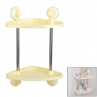 H2WY BWJ2514 Handy Suction Cup Wall Mouted Double Deck Storage Tripod - Beige + Silver + Transparent
