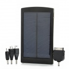 "Portable ""10,000mAh"" Solar Powered Emergency Battery Charger w/ Blue Indicator - Black"