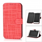 Checked Style Protective PU Leather + Plastic Case for Samsung Galaxy S4 i9500 - Red + Black