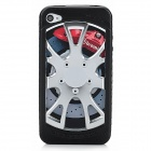 Electroplating Wheel Design Silicone + Plastic Back Case for Iphone 4 / 4S - Black + Silver