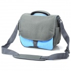Nylon Cloth Fashion Camera Shoulder Bag for Nikon Canon DSLR w/ Rain Cover - Blue + Deep Grey