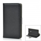 Lychee Pattern Protective PU Leather + Plastic Case for Nokia Lumia 520 - Black