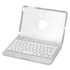 K216 Bluetooth V3.0 59-Key Keyboard w/ Aluminum Alloy Case Cover for Ipad MINI - Silver + White