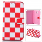 Checked Style Protective PU Leather + Plastic Case for Samsung Galaxy S4 i9500 - Wine Red