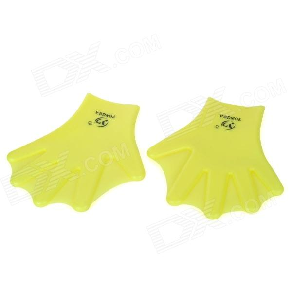 YONGBA Soft Silicone Webbed Gloves for Swimming - Yellow (2 PCS)