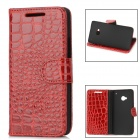 Crocodile Skin Style Protective PU Leather Case for HTC One M7 - Red