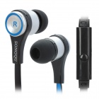 SONGQU In-Ear Earphones w/ Microphone - Black + Silver + Blue (3.5mm Plug / 125cm-Cable)