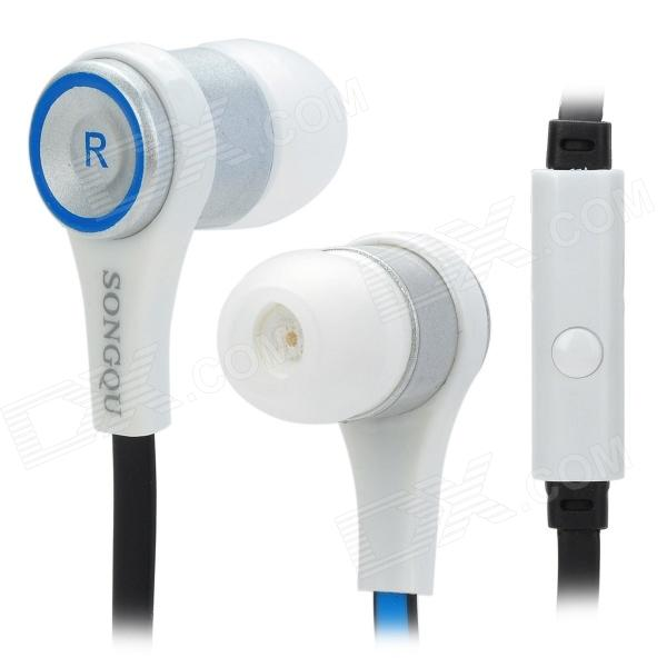 SONGQU SQ-IP2011 Stylish Universal In-ear Headset / Earphone w/ Microphone - Blue + Black + White songqu sq ip2011 stylish in ear earphones w microphone blue black white