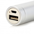 Cylinder-shaped 6000mAh Mobile Power Bank w/ 1W White LED Lamp - White + Silver