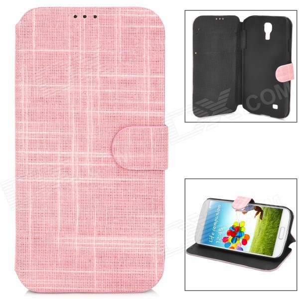 Fashion Cloth Grain Flip Open Style PU Leather Case for Samsung Galaxy S4 - Pink + Black cloth style protective pu leather cover plastic back case stand for samsung galaxy s4 i9500 black
