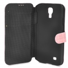 Fashion Cloth Grain Flip Open Style PU Leather Case for Samsung Galaxy S4 - Pink + Black