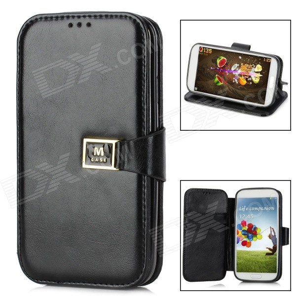 Protective PU Leather Case for Samsung Galaxy S4 i9500 w/ M Buckle Closure - Black new for dell latitude e6440 bottom base cover case 99f77 099f77