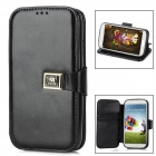 "Protective PU Leather Case for Samsung Galaxy S4 i9500 w/ ""M"" Buckle Closure - Black"