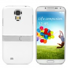 Protective Plastic Back Case w/ Stand for Samsung Galaxy S4 i9500 - White + Silver + Yellow