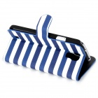 Stripe Style Protective PU Leather Case for Samsung Galaxy S4 i9500 - Blue + White