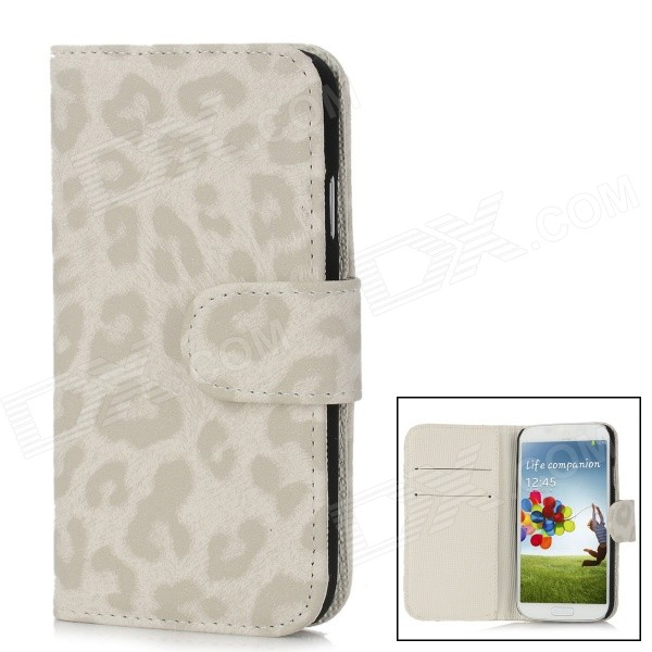 Leopard Style Protective PU Leather Case w/ Card Holder for Samsung Galaxy S4 i9500 - Grey + White qi wireless charger receiver pu leather case k8 charging pad kit for samsung galaxy s4 white