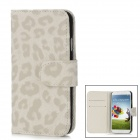Leopard Style Protective PU Leather Case w/ Card Holder for Samsung Galaxy S4 i9500 - Grey + White